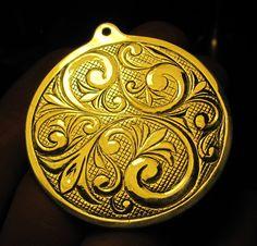Engraved Scroll pendant
