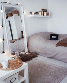 New room organization bedroom for teens 70 Ideas Trendy Bedroom, Cozy Bedroom, Bedroom Wall, Bedroom Decor, Bedroom Lighting, Mirror Bedroom, Bedroom Simple, Bedroom Black, Modern Bedroom