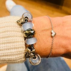 Trollbeads bracelet of the day with light blue details and Christmas Heart beads. Paired with the lovely byBiehl Sweet Love bracelet in silver. Make sure to check out our other brands on www. We ship internationally.