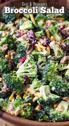 An easy and delicious BROCCOLI SALAD with bacon! This recipe is always a hit! Easy to make and packed with flavor! #summerfood #broccolisalad #salad #potluck