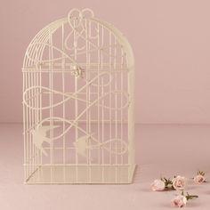 Modern Decorative Birdcage with Birds in Flight Ivory