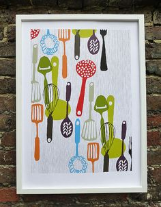 Kitchen utensils  hand printed silk screen print by AntiGraphic, $89.00 Or you could just paint it yourself:)