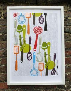 Kitchen utensils - hand printed silk screen print