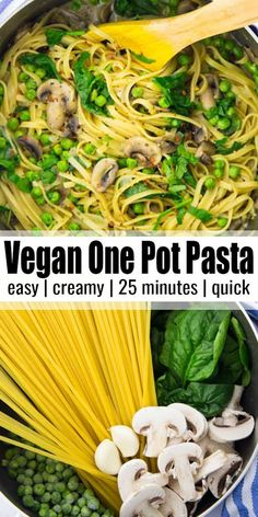 If you're looking for easy weeknight recipes, this garlic mushroom one pot pasta is perfect for you! It's vegan, super creamy, and ready in less than 25 minutes! Find more vegan one pot recipes at Vegan Dinner Recipes, Vegan Recipes Easy, Pasta Recipes, Whole Food Recipes, Soup Recipes, One Pot Recipes, Simple Recipes, Steak Recipes, Shrimp Recipes