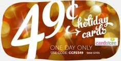 Holiday Cards from the Cardstore – 49¢ w/Free Shipping!  See more #freebies and #deals at ourfrugalfamily.net
