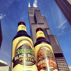 Our flagship beers are almost as tall as the tallest building in the US. The Willis (Sears) Tower! #Chicago #DeschutesIL #craftbeer