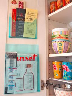 Menu Organizer: Adhere any clear folder or plastic sleeve for paper documents to the inside of a cabinet or pantry door. Or, place one on the wall by the phone. http://www.hgtv.com/decorating-basics/clever-uses-for-everyday-items-in-the-kitchen/pictures/page-2.html?soc=pinterest