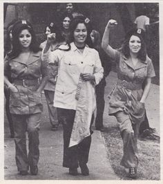 1970, Chicana Brown Berets at a demonstration in East Los Angeles, from LA RAZA magazine, vol. 1 no. 4.  Ph: Raul Ruiz.