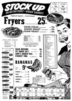 A 1950s grocery store sale advertisement | Post WW2 boomtime prices.