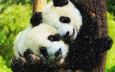 I uploaded new artwork to fineartamerica.com! - 'Panda Bear And Her Cub 1' - http://fineartamerica.com/featured/panda-bear-and-her-cub-1-lanjee-chee.html via @fineartamerica