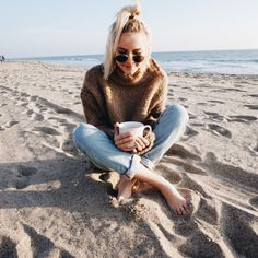Dreaming | Could there be anything better than starting the day with a walk on the beach in your favorite cozy sweater, coffee in hand?