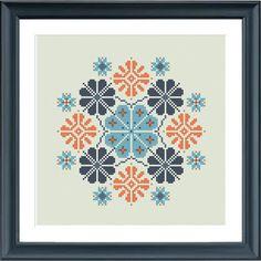 modern cross stitch pattern geometric snowflake ornament PDF
