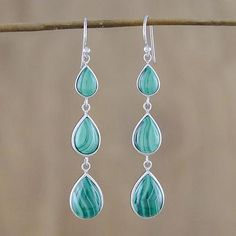 Malachite dangle earrings, 'Salt Water Drops' - Silver and Malachite Dangle Earrings from Thailand