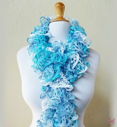 Knit Scarf SEABREEZE  Ruffled Lace scarf  by OriginalDesignsByAR, $24.95