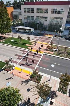 This is a really cool example of a simple way to make the essential pedestrian parts of a city more interesting. Simply creating colorful walkways or designing nice lighting structures actually can add a lot of value for pedestrians exploring the city. Public Architecture, Landscape Architecture Design, Interior Architecture, Masterplan, Plaza Design, Public Space Design, Urban Fabric, Parking Design, Urban Planning