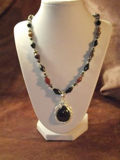 Moss Agate Pendant Indian Agate Beaded Pendant by BlackBearsBazaar, $38.00