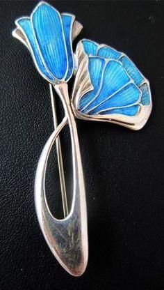 Late Art Nouveau Sterling Teal Guilloche Enamel Jugendstil Pin British 1930
