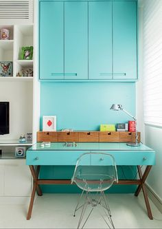 painting your workspace an energizing color like turquoise can only help you get things done - worth a try! plus it just looks awesome.