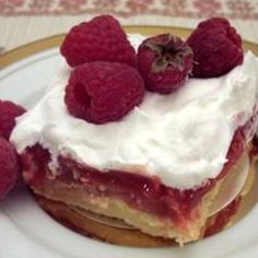 RASPBERRY / RHUBARB DESSERT-I have fresh rhubarb and fresh raspberries this may be exactly the right time to make this dessert.