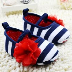 Infant Toddler Stripe Flower First Walker Soft Sole Kid Girls Baby Shoes