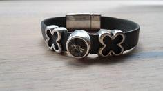 #Swarovski #Leder #Blume #Armband