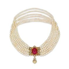 A SIX-STRAND NATURAL PEARL, RUBY AND DIAMOND NECKLACE