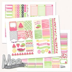 Pink Watermelon printable planner stickersweekly sticker