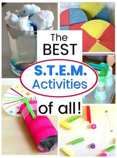 So many awesome STEM and STEAM activities for kids! These are great STEM challenges for kids as young as toddlers all the way through to middle schoolers - something for everyone. Love the no prep ideas too. Activities For 6 Year Olds, Steam Activities, Kids Learning Activities, Creative Activities For Kids, Stem Learning, Toddler Activities, Stem Science, Science Experiments Kids, Science For Kids