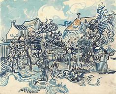 Two months before Van Gogh, s death he paint  this vinyard and peasant women.