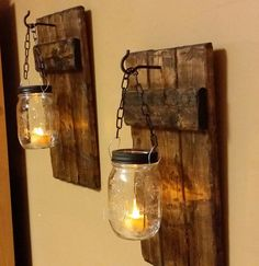 Rustic home decor rustic candles lights home and living mason jar decor farmhouse decor wood decor candle holders priced 1 each Rustic Wood Candle Holder Rustic Home by TeesTransformations Rustic Lanterns, Rustic Candles, Jar Lanterns, Jar Candles, Porch Lanterns, Outdoor Candles, Rustic Chandelier, Wood Sconce, Candle Sconces