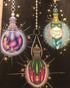 My finished dangly potions from Magical Dawn. I loved doing a glow affect around these. #albrechtdurer #hannakarlzon #magicaldawn #magiskgryning #fabercastell #sakuragellyroll #carandacheluminance #posca #americanaacrylics #johannabasford #desenhoscolorir #divadasartes #boracolorirtop