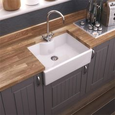Villeroy & Boch Butler 90 Ceramic Belfast Double Sink, Ceramic Plus white Sink Accessories Available Ceramic Kitchen Sinks, Kitchen Taps, New Kitchen, Kitchen Reno, Butler Sink Kitchen, Belfast Sink Kitchen, Small Kitchen Sink, Kitchen 2016, Studio Kitchen