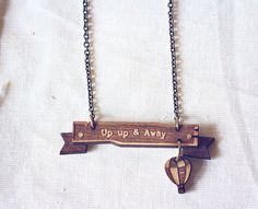 Up up and away  hot air balloon banner necklace  by StrangelyYours