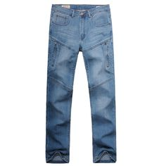 Casual Fashion Thin Loose Straight Leg Multi-Pockets Plus Size Elastic Jean For Men - Gchoic.com