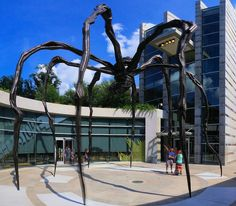 """The 30 foot tall spider, """"Maman"""" (1999), is a bronze, stainless steel, and marble sculpture by the artist Louise Bourgeois, Crystal Bridges Museum of American Art, August 1, 2015, Bentonville, Arkansas  (pinned by haw-creek.com)"""