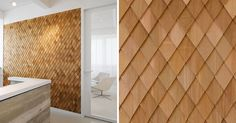 In this contemporary office interior, the designers used wood shingles on various walls to act as accent walls and to help create texture in the space.