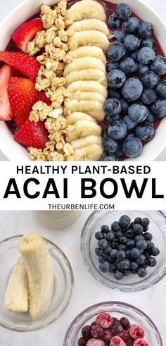 Quick, easy, plant-based, naturally sweetened, and homemade acai bowl. Dairy free and vegan!