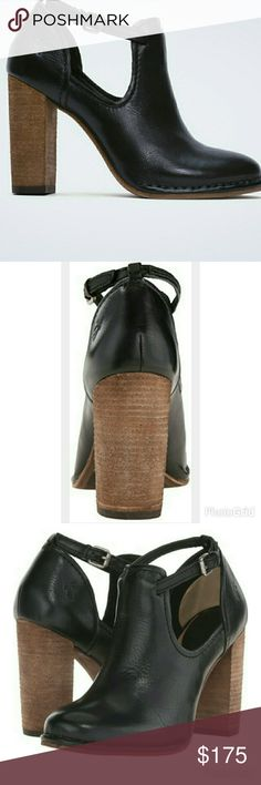 """❎❎ HP❎ FRYE booties For those times you can't decide whether you want the ease of a shoe or the presence of a bootie. The perfect blend of the two, this shootie does the trick. Made of soft leather for a perfectly broken-in, vintage look, with the skinny ankle strap and chunky stacked high heel to take it up a notch. Italian leather. Leather lined. Leather outsole. Antique metal hardware. San Crispino construction. 3 3/4"""" heel height. Never worn Frye Shoes Ankle Boots & Booties"""