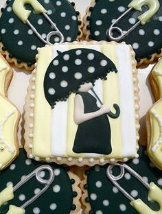 Oh Sugar Events: Yellow, Black and White Baby Shower Fancy Cookies, Iced Cookies, Cute Cookies, Royal Icing Cookies, Sugar Cookies, Cupcakes, Cupcake Cookies, Birthday Cookies, Birthday Cake