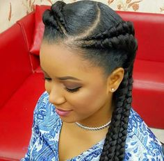 Trendy braids Cornrows styles you should try in 2017 Two Braids Hairstyle Black Women, Black Girl Braids, Braids For Black Hair, Girls Braids, Black Women Hairstyles, Feeder Braids Hairstyles, Two Braid Hairstyles, African Hairstyles, Cool Hairstyles