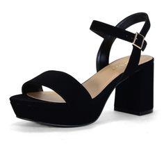 Bamboo Black Camile Platform Sandal ($20) ❤ liked on Polyvore featuring shoes, sandals, black sandals, high heeled footwear, high heel shoes, black shoes and black chunky sandals