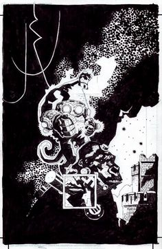 Hellboy (unused cover) by Mike Mignola