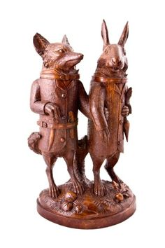 Black Forest Carving--Fox & Rabbit here are comic storybook characters--wary allies....