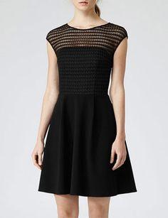 REISS Maya Black Lace Bodice Dress