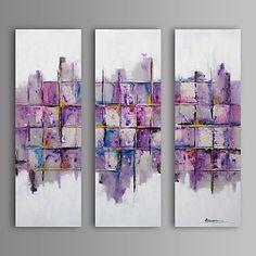 現代アートなモダン キャンバスアート 絵 壁 壁掛け 油絵の特大抽象画3枚で1セット 格子状 ハニカム アート 柄 紫 バイオレット 日差し【納期】お取り寄せ2~3週間前後で発送予定【送料無料】ポイント