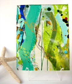 Mermaid fused glass art  hand painted dolphin fish by StaceyAlysa, $45.00
