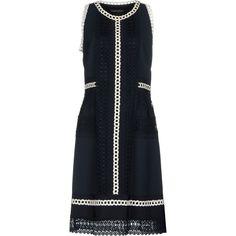 Alberta Ferretti Knee-length Dress (€620) ❤ liked on Polyvore featuring dresses, dark blue, zipper dress, lined dress, dark blue dress, lining sleeveless dress and sleeveless swing dress
