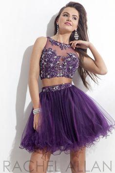 Rachel Allan 6693 2pc Illusion Short Prom Dress - French Novelty