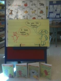 Using Elephant and PIggie books by Mo Williams to teach word bubbles in writing.
