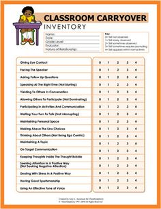 Social Skills Inventory ~ number these and mount chart in room so number can be set privately on students desk to warn them what needs work as needed.